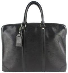 Louis Vuitton Porte-Documents Voyage Porte Noir 15lz0914 Black Leather LaptopBag