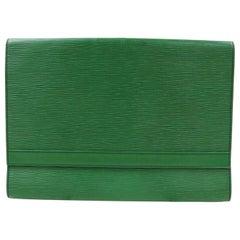 Louis Vuitton Porte Large Borneo Document Fold 870390 Green Leather Clutch