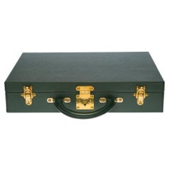 """Louis Vuitton """"President"""" Attaché Case in green Taïga leather and gold hardware"""