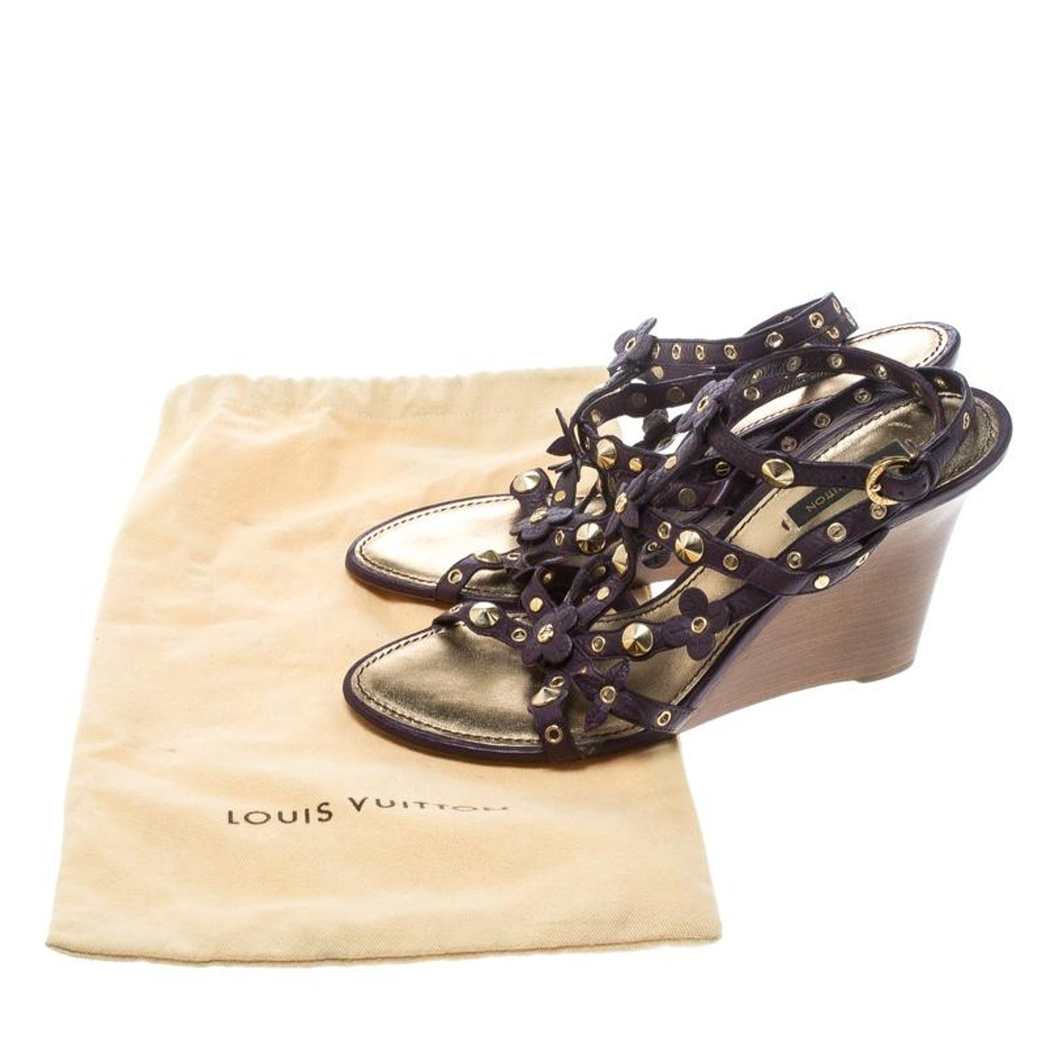 25790d38c930 Louis Vuitton Purple Leather Studded Wedge Sandals Size 38.5 For Sale at  1stdibs