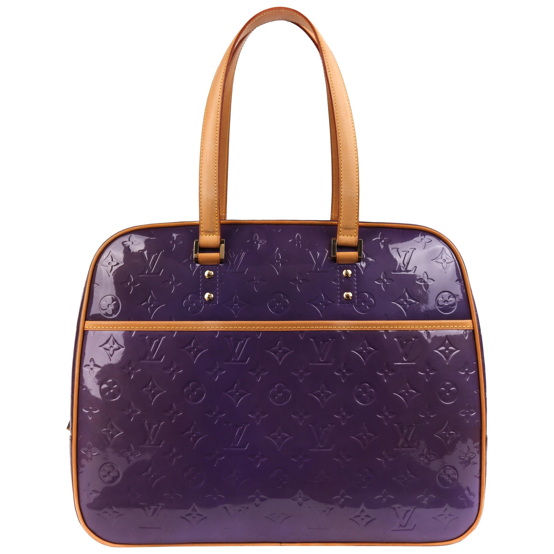 LOUIS VUITTON Purple Monogram Vernis Sutton Double Handle Shoulder Bag