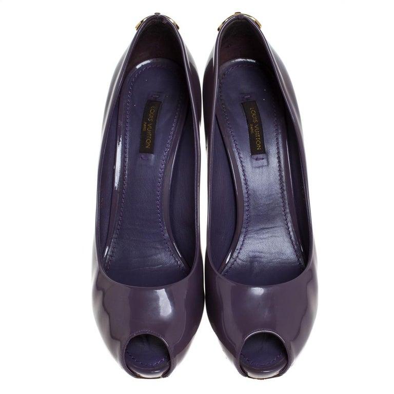 Black Louis Vuitton Purple Patent Leather Oh Really! Peep Toe Platform Pumps Size 38.5 For Sale