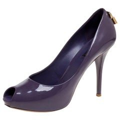 Louis Vuitton Purple Patent Leather Oh Really! Peep Toe Platform Pumps Size 39.5