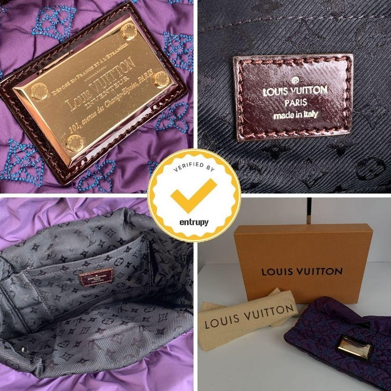 Black Louis Vuitton Purple Quilted Pochette Devi MM Clutch Bag For Sale
