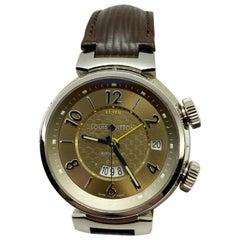 Louis Vuitton Q1154 Tambour GMT Alarm Brown Leather Strap 18 Karat White Gold
