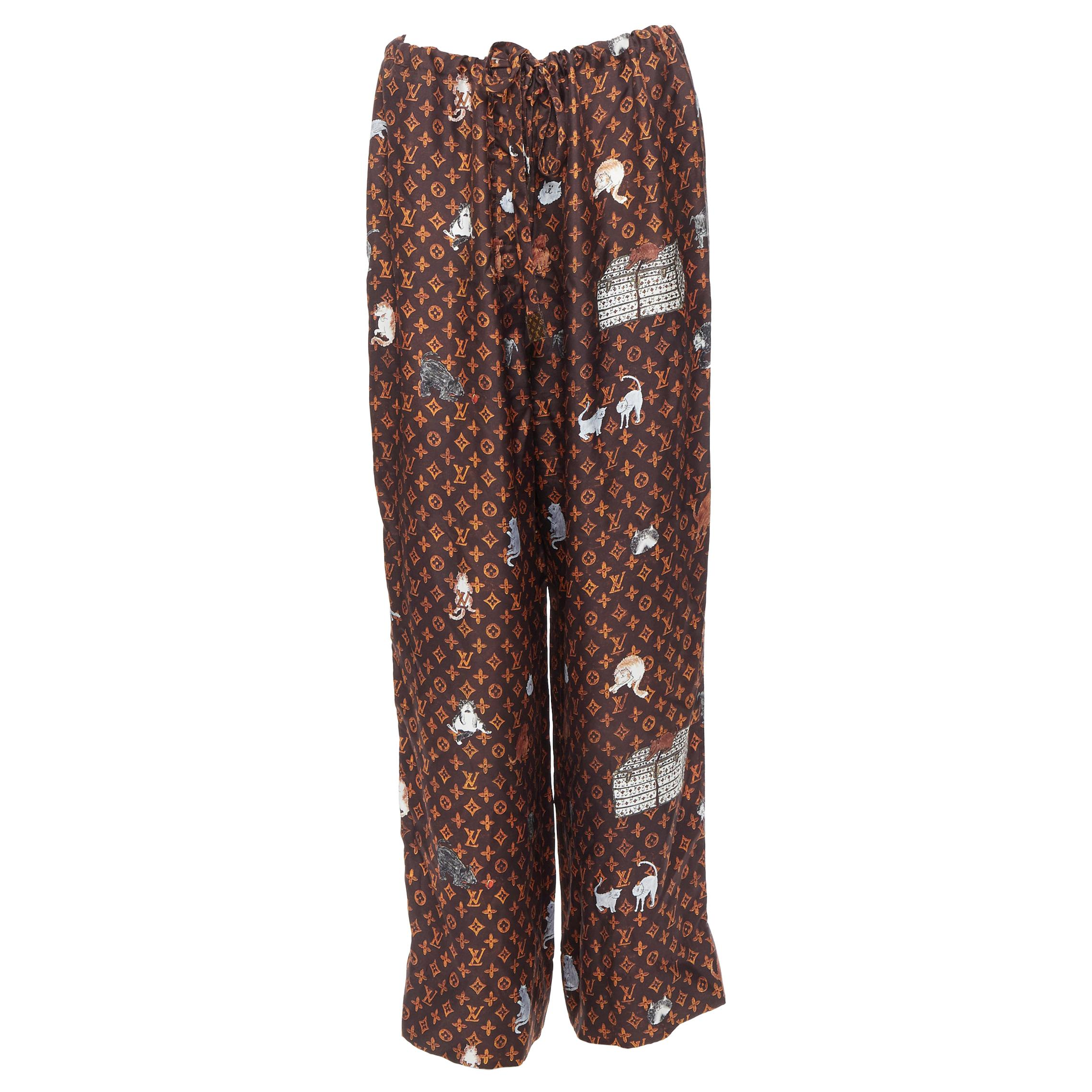 LOUIS VUITTON Rare 2019 Coddington Catagram monogram silk pajama pants FR44 XL