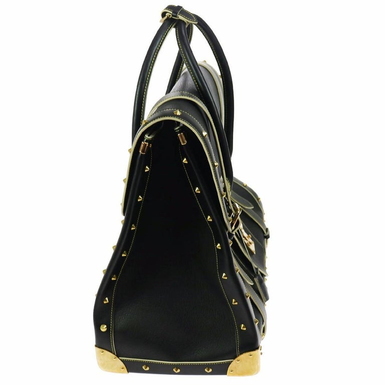 Louis Vuitton Rare Limited Edition Black Top Handle Carryall Travel Tote Bag In Good Condition For Sale In Chicago, IL