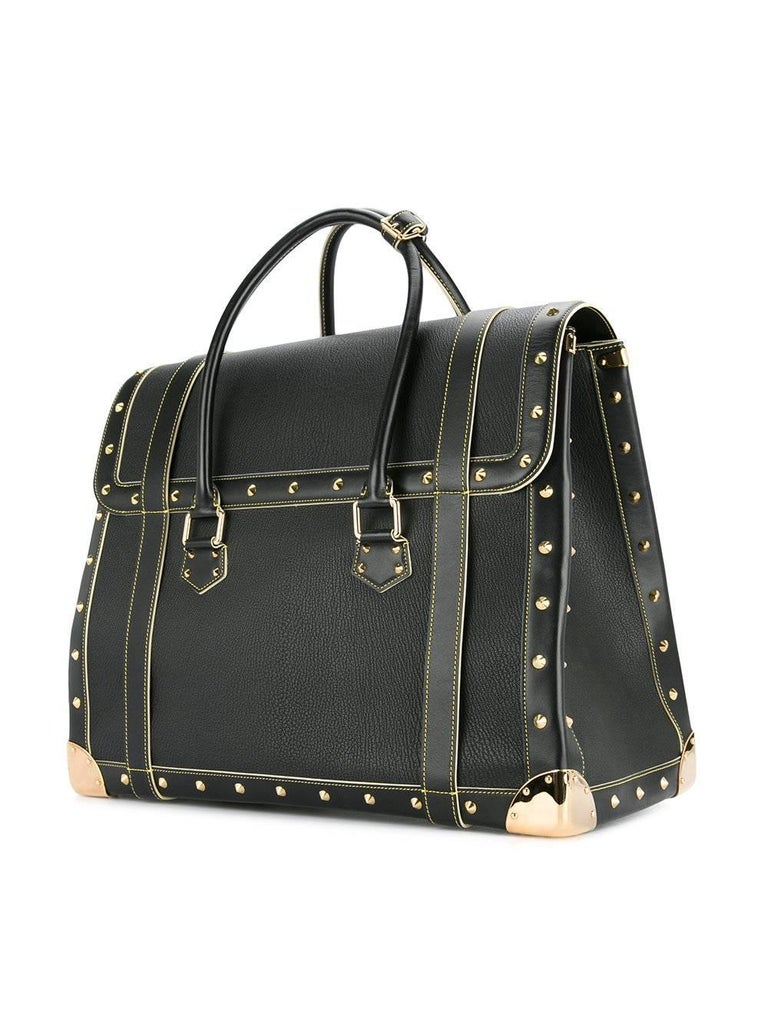 Louis Vuitton Rare Limited Edition Black Top Handle Carryall Travel Tote Bag For Sale 1