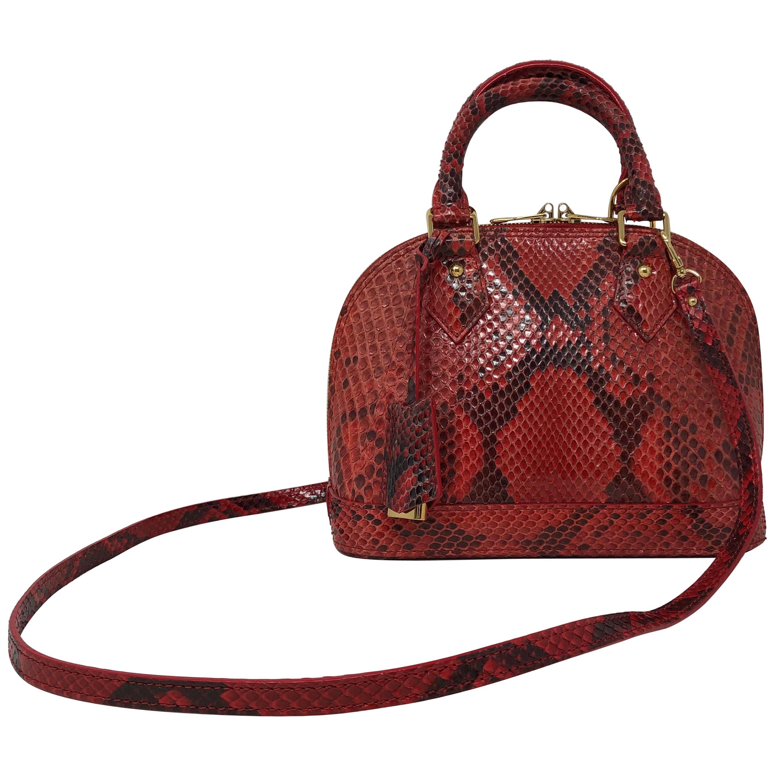 Louis Vuitton Red and Black Python Alma BB Crossbody Bag