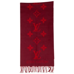 Louis Vuitton Red & Burgundy Cashmere Scarf