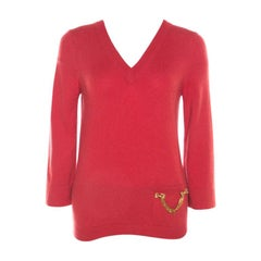 Louis Vuitton Red Cashmere Embellished Pocket Sweater M