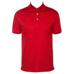 Louis Vuitton Red Cotton Pique Short Sleeve Polo T-Shirt M