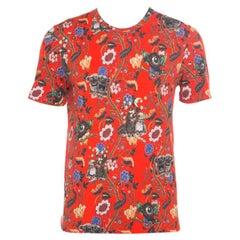 Louis Vuitton Red Demonic Owl Printed Cotton T-Shirt M
