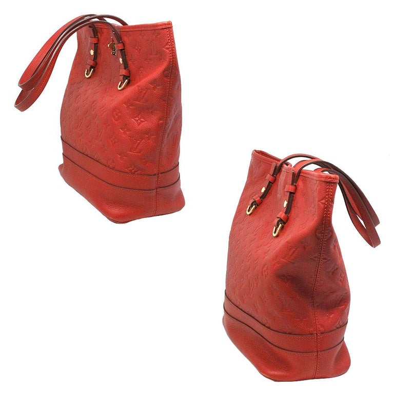 Louis Vuitton Red Empreinte Citadine PM Tote Bag w/ Attached Pochette In Good Condition For Sale In Boca Raton, FL
