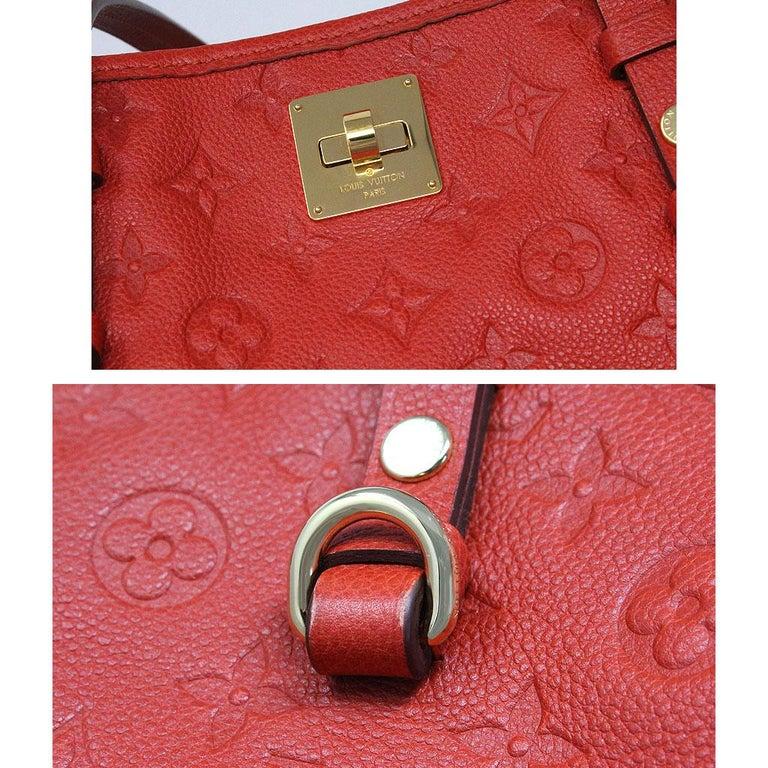 Louis Vuitton Red Empreinte Citadine PM Tote Bag w/ Attached Pochette For Sale 2