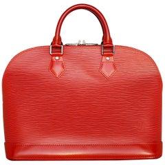Louis Vuitton Red EPI Alma PM Handbag Satchel
