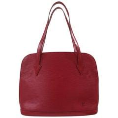 Louis Vuitton red epi alma shoulder shopper bag