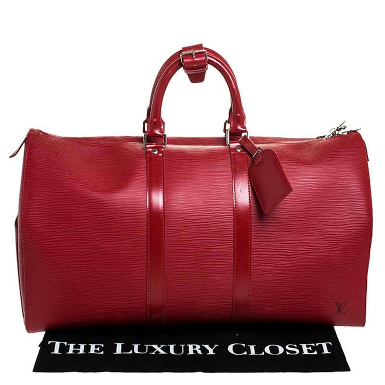 Louis Vuitton Red Epi Leather Keepall Bag 45 Bag For Sale 8