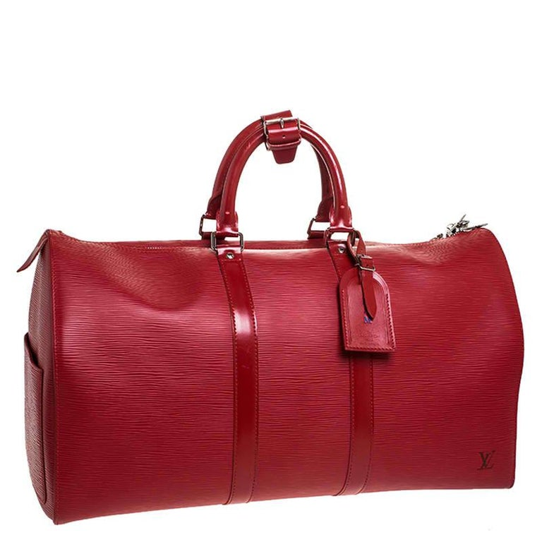 Women's Louis Vuitton Red Epi Leather Keepall Bag 45 Bag For Sale