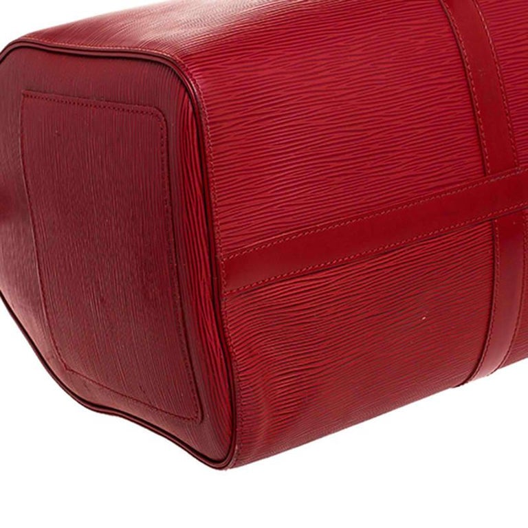Louis Vuitton Red Epi Leather Keepall Bag 45 Bag For Sale 2