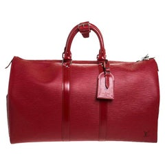 Louis Vuitton Red Epi Leather Keepall Bag 45 Bag