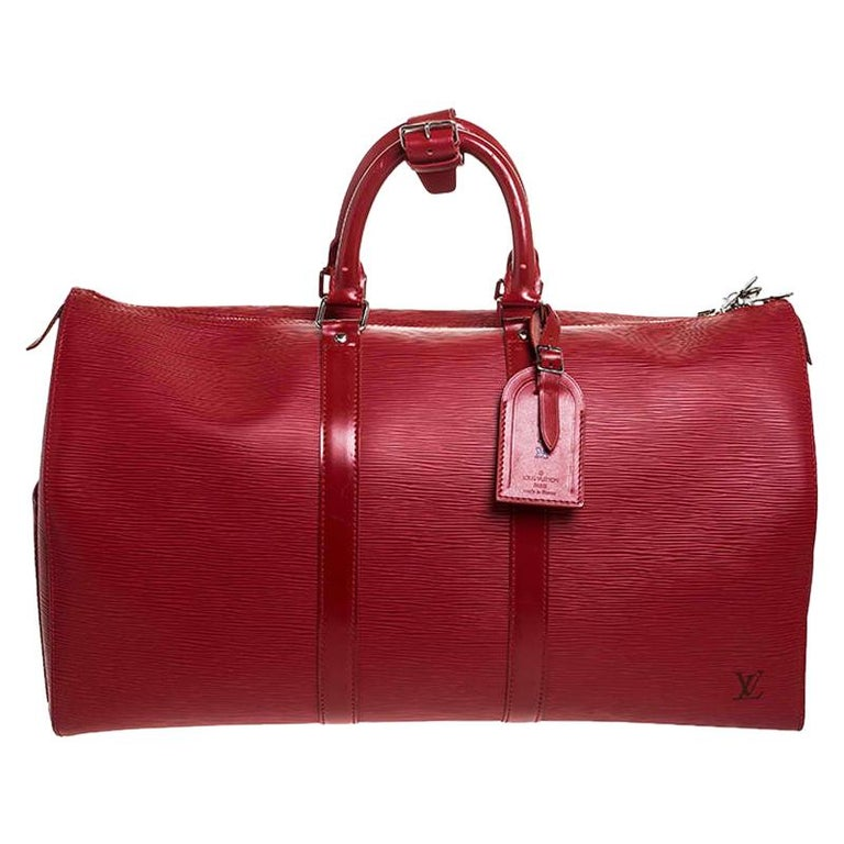 Louis Vuitton Red Epi Leather Keepall Bag 45 Bag For Sale