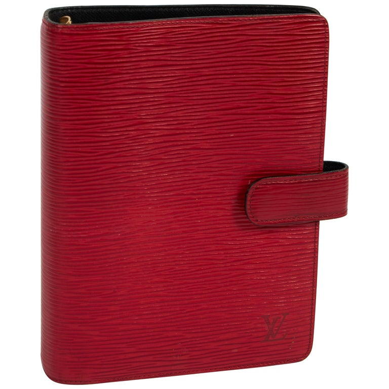 Louis Vuitton Red Epi Leather Planner Cover For Sale