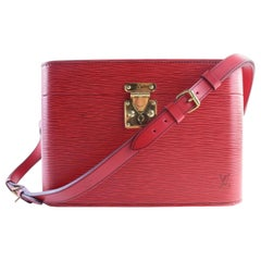 Louis Vuitton Red Epi Leather Train Case 8lr0705 Cosmetic Bag