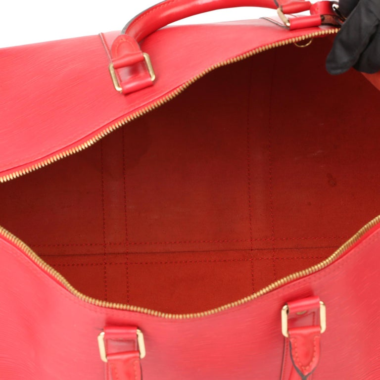 Louis Vuitton Red Epi Leather Vintage Keepall 55 For Sale 6