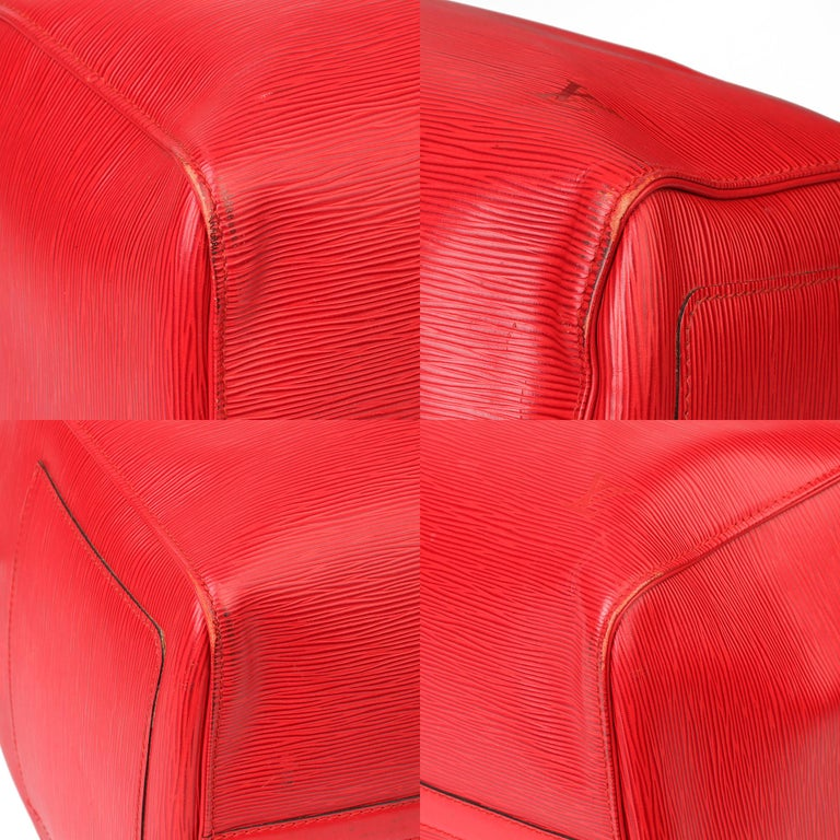 Louis Vuitton Red Epi Leather Vintage Keepall 55 For Sale 7