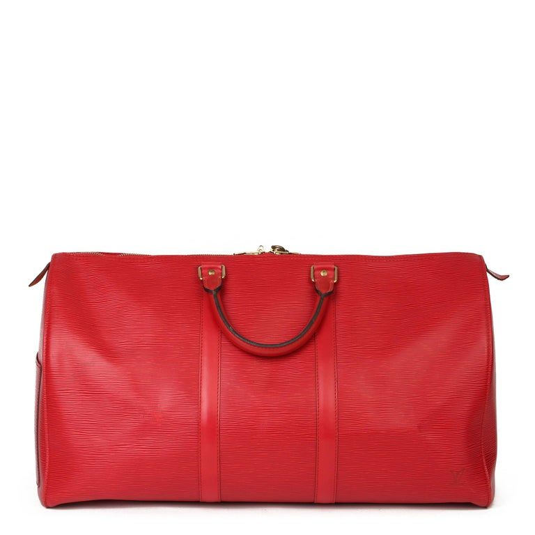 Women's or Men's Louis Vuitton Red Epi Leather Vintage Keepall 55 For Sale