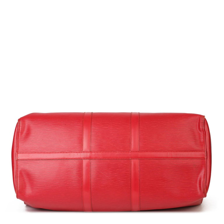 Louis Vuitton Red Epi Leather Vintage Keepall 55 For Sale 1