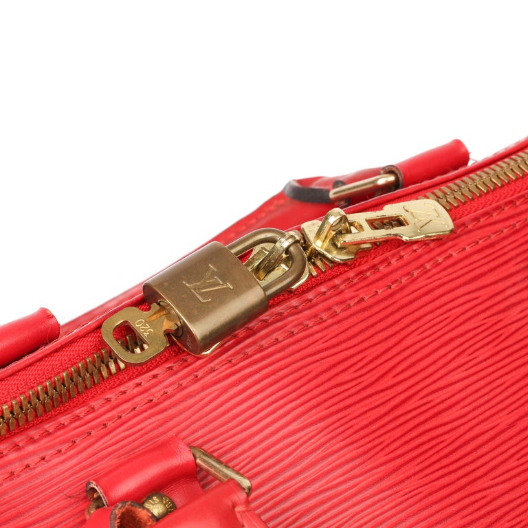 Louis Vuitton Red Epi Leather Vintage Keepall 55 For Sale 3