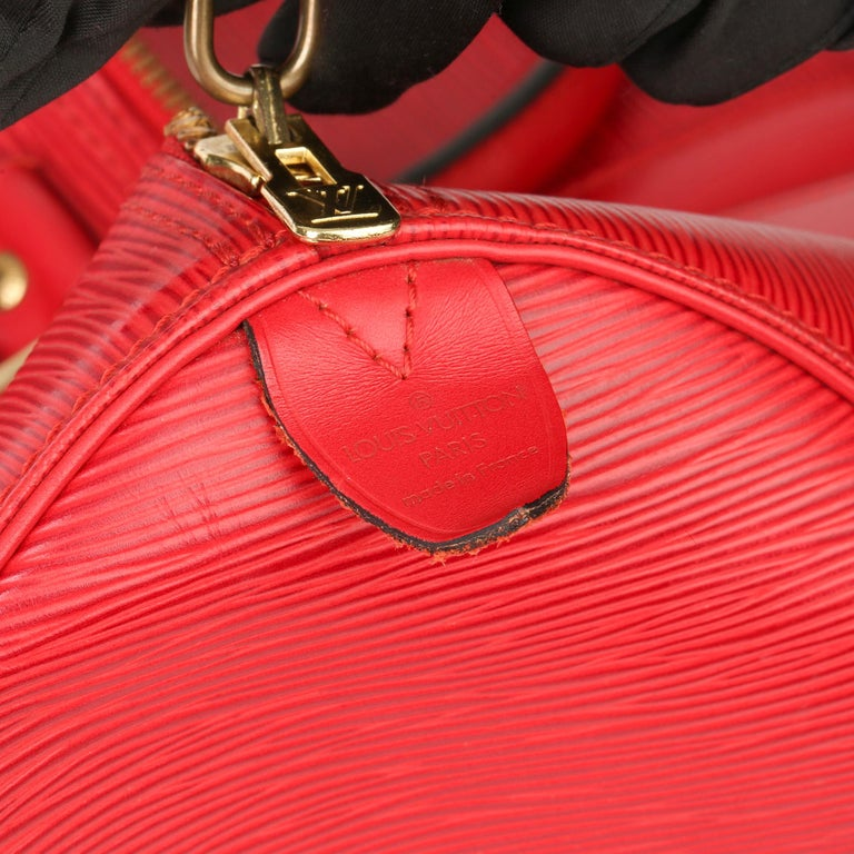 Louis Vuitton Red Epi Leather Vintage Keepall 55 For Sale 4