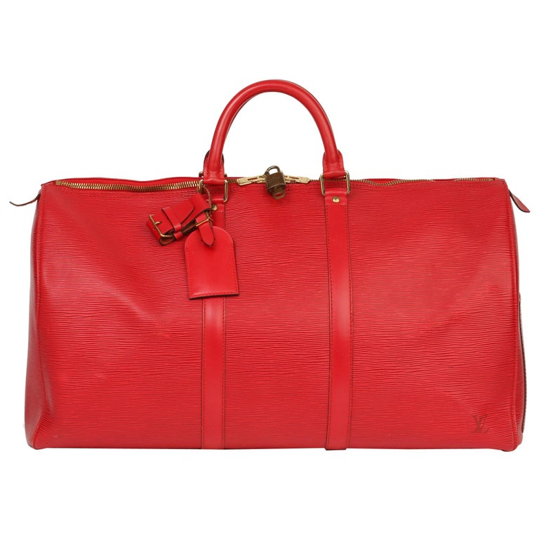 Louis Vuitton Red Epi Leather Vintage Keepall 55 For Sale