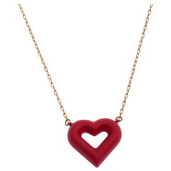 Louis Vuitton Red Heart Gold Tone Necklace