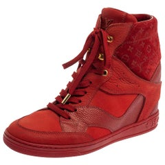 Louis Vuitton Red Leather And Embossed Monogram Suede Sneakers Size 37.5