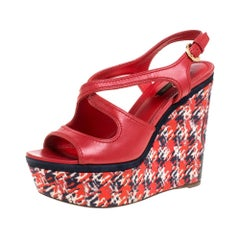 Louis Vuitton Red Leather And Multicolor Fabric Wedge Slingback Sandals Size 37