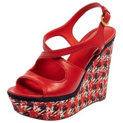 Louis Vuitton Red Leather And Multicolor Wedge Slingback Sandals Size 39