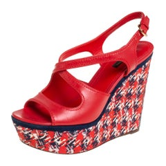 Louis Vuitton Red Leather And Multicolor Wedge Slingback Sandals Size 39.5