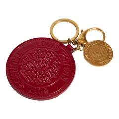 Louis Vuitton Red Leather Bag Charm With Box