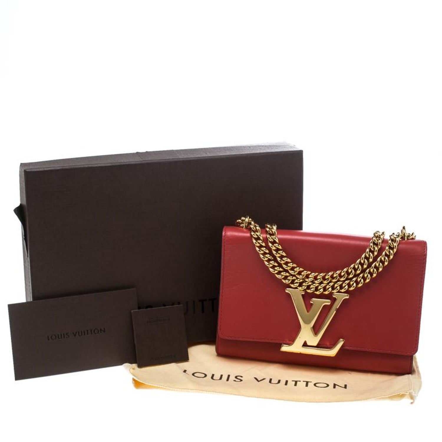 77260c9a5b86 Louis Vuitton Red Leather Chain Louise MM Clutch at 1stdibs