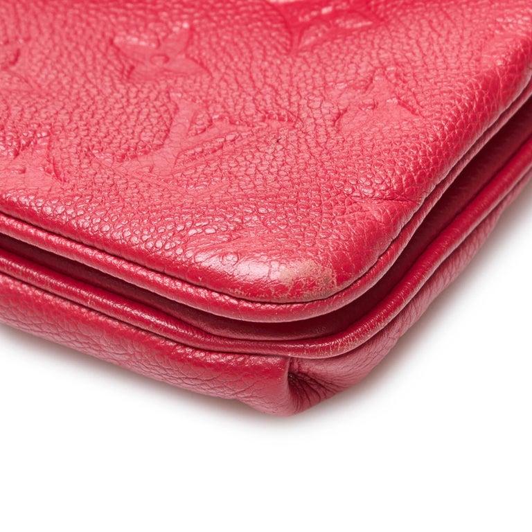 Louis Vuitton Red  Leather Empreinte Twice Bag France w/ Dust Bag For Sale 6