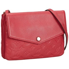 Louis Vuitton Red  Leather Empreinte Twice Bag France w/ Dust Bag