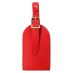 Louis Vuitton Red Leather Luggage Tag & Handle Loop
