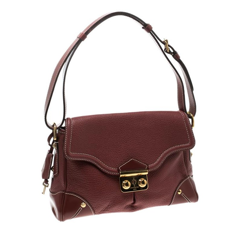 Brown Louis Vuitton Red Leather Shoulder Bag For Sale
