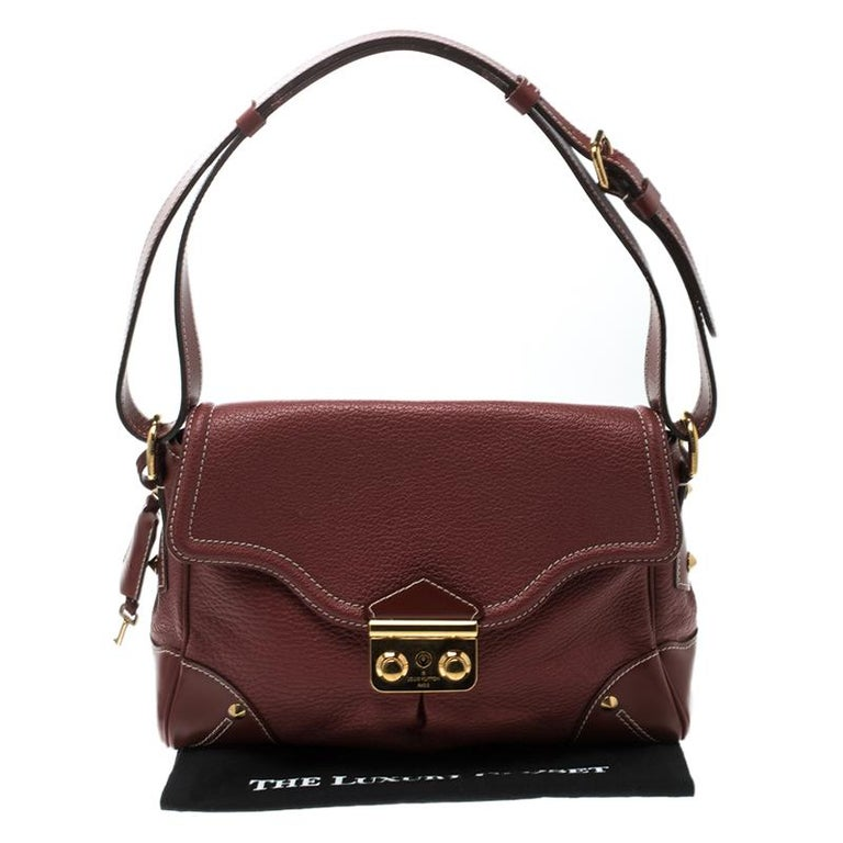 Louis Vuitton Red Leather Shoulder Bag For Sale 3