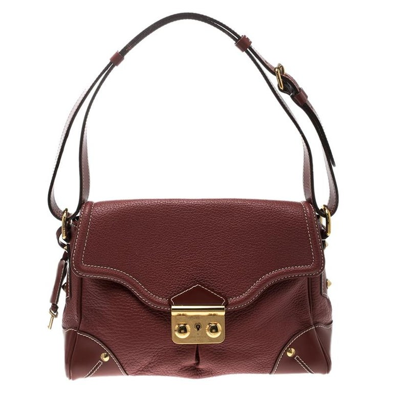 Louis Vuitton Red Leather Shoulder Bag For Sale