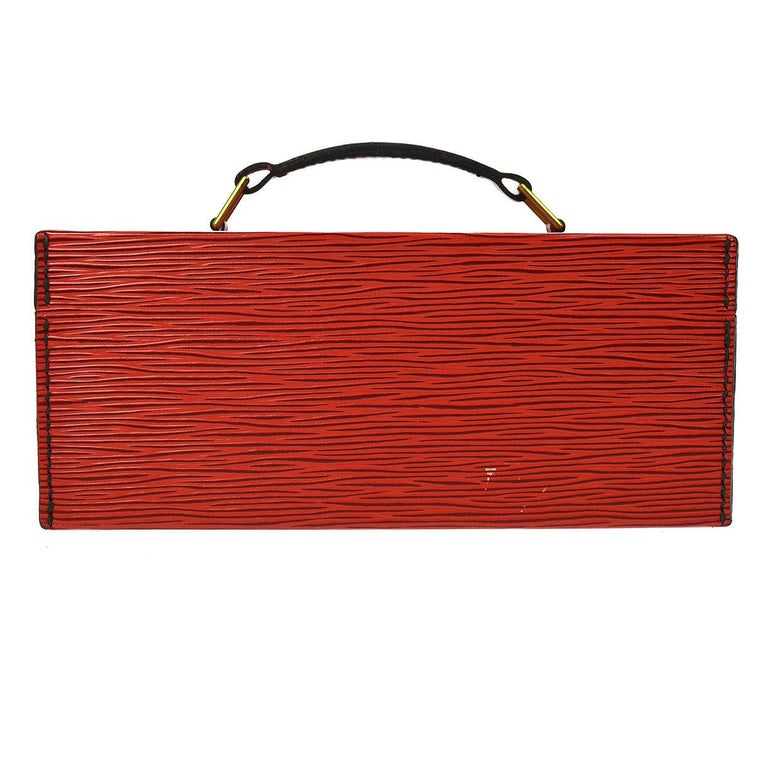 Women's or Men's Louis Vuitton Red Leather Top Handle Satchel Vanity Cosmetic Travel Bag For Sale