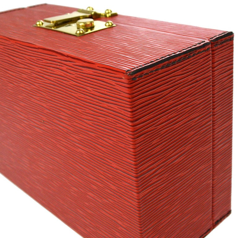 Louis Vuitton Red Leather Top Handle Satchel Vanity Cosmetic Travel Bag For Sale 2
